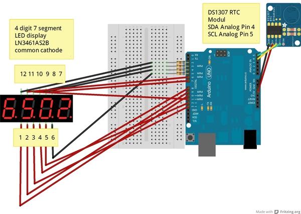 Arduino als uhr version mit rtc komponente und digit